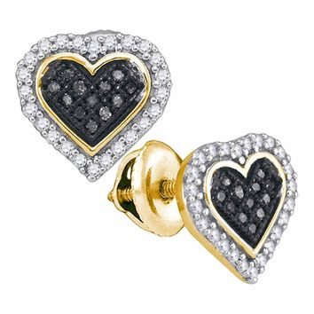10kt Yellow Gold Womens Round Black Color Enhanced Diamond Heart Cluster Stud Earrings 1/4 Cttw