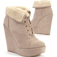 Light Brown Shearling Cuff Wedge Boots
