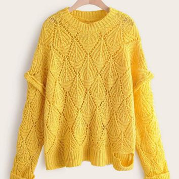 Solid Ripped Hem Hollow Sweater
