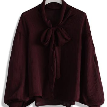 Wine Ribbon Collar Chiffon Top