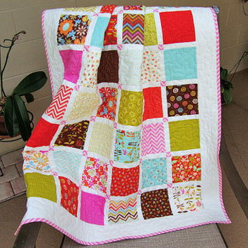 BABY GIRL QUILT, Wrens and Friends, Toddler Quilt, Baby Girl Quilt, Handmade Quilt, Baby Gift, Play Mat, Ready to Ship