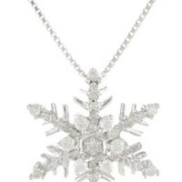 "Sterling Silver Diamond Snowflake Pendant Necklace (1/4 cttw, H-I Color, I2 Clarity), 18"":Amazon:Jewelry"