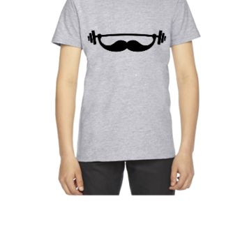 Funny Fitness Mustache Beard - Youth T-shirt