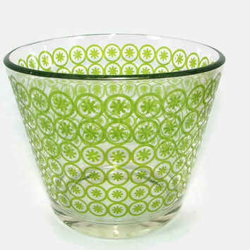 Green Starburst Glass Cocktail Set Shaker Ice Bucket in Carrier Tongs Serving Bowl Asterisk Barware