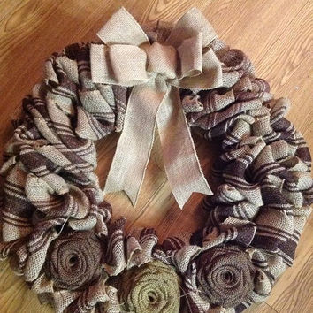 SALE20%OFF Burlap Roses Wreath