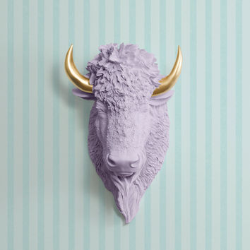 The Yellowstone Lavender Faux Bison Head