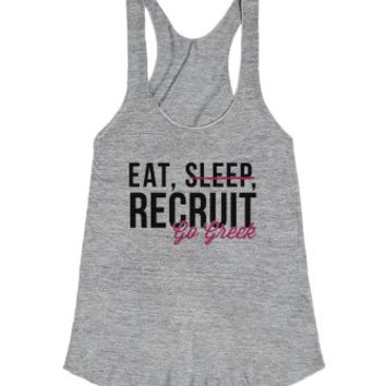 Eat, Sleep, Recruit Racerback Tank-Female Athletic Grey T-Shirt