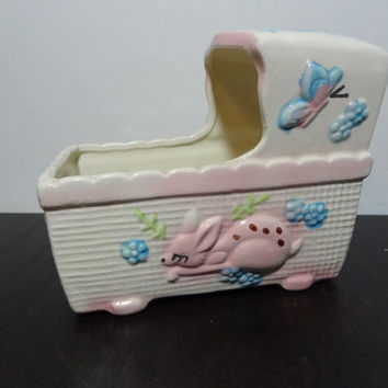 Vintage Ceramic Bassinet/Cradle Shaped Nursery Planter with Baby Deer/Fawn Design - Nursery/Baby's Room Planter