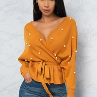 Pamela Faux Wrap Sweater Top - Mustard