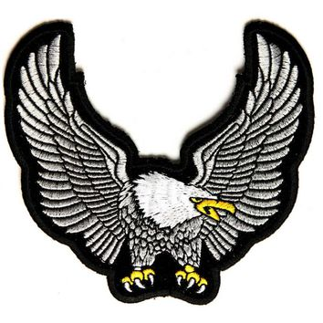 SILVER UPWING EAGLE  Patch Embroidered Applique Sewing Label punk biker Patches Clothes Stickers   Apparel Accessories Badge