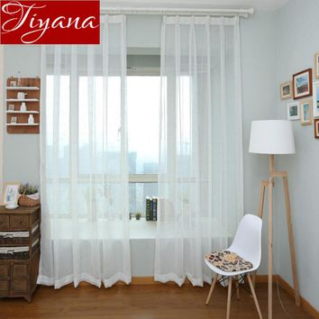 Pure Solid White Color Voile Curtains Window Screen Yarn Panel Cotton Linen Modern Living Room Balcony Curtains Tulle X145#20