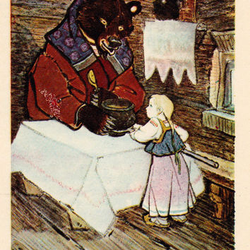 """Signed. Postcard Illustration by E. Rachev for Russian Folk Tale """"Masha and the Bear"""" -- 1969, Fine Arts Publ., Moscow. Condition 5/10"""