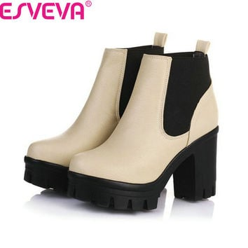ESVEVA New Arrival Fashion Thick High Heels Boots Women Platform Slip On Hot Sale Motorcycle Mixed Color Winter Snow Shoes Black
