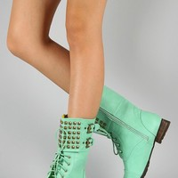 Mint Green Fashion Combat Boots