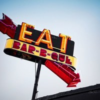Eat Bar B Que Neon Sign -photography Greeting Card