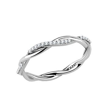 Dazzling Wreath - Women's Stainless Steel Twisted Wreath Style Clear Cz Eternity Ring