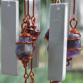 Banded Amethyst Windchime / Wind Chime with Recycled Aluminum and Copper Wire Wrapped Amethyst & Electric Lilac Glass Marbles