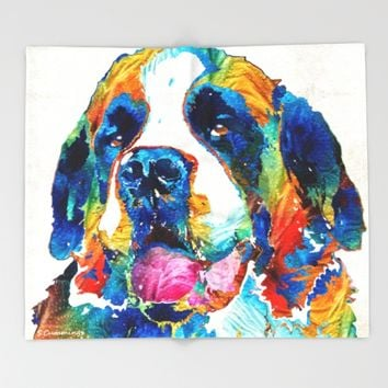 Colorful Saint Bernard Dog by Sharon Cummings Throw Blanket by Sharon Cummings