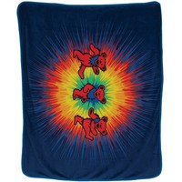 Grateful Dead - Dancing Bears Tie Dye Fleece Blanket