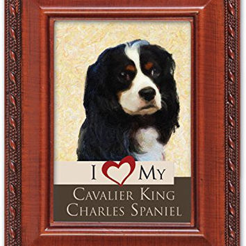 I Love My Cavalier King Charles Spaniel 2x3 Photo Woodgrain Finish Frame with Easel, Ribbon Hanger and Magnetic Back
