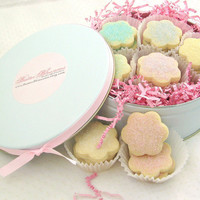 Springtime Easter Gift Idea - Pretty in Pink Cookie Gift Tin - 21 Shortbread Flowers  - You Choose Flavor & Colors