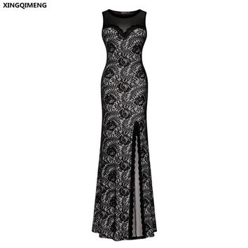 In Stock Cheap Simple Black Lace Evening Dress Front Split Evening Dresses Long Formal Dress Illusion Tulle Back Prom Gown
