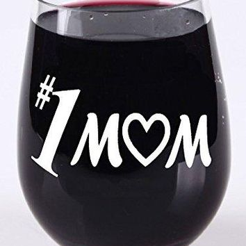 Gift for Mom  Present  Mom Stemless Wine Glass  Tritan Plastic Material  16 Ounce