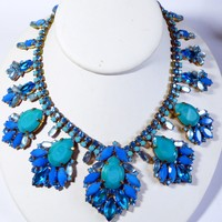 Blue Rhinestone and Opaque Blue Czech Glass Statement Necklace