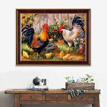 14x18 Inches 5D Diamond Painting Garden Chicken Coop Cross Stitch Home Decor