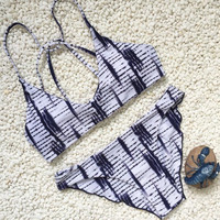 New Summer Sexy Women bikini geometric pattern swimsuit bandage Swimwear -0711
