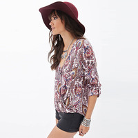 Red Paisley Print Wrap Loose Roll Sleeve Loose Top