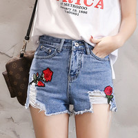 Floral Rose Embroidery Fashion Women Shorts Korean Style Denim Shorts