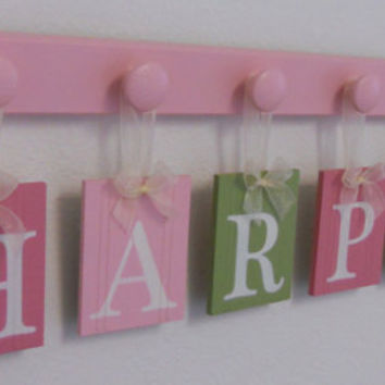 Childrens Personalized Decor Name Signs Includes 6 Peg Hooks and Babies Name HARPER Pinks and Green. Baby Girls Room Wall Decor