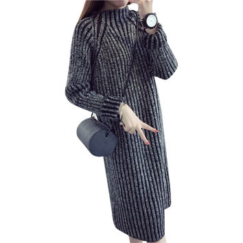 Spring Autumn Women Sweater Dresses Winter Christmas Long Sweaters Knitted Thick Warm Sweater and Pullovers Jumper