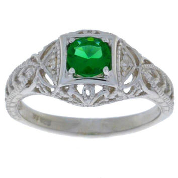 Emerald & Diamond Round Ring .925 Sterling Silver