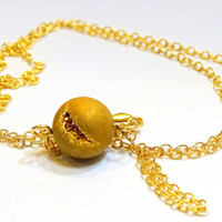 "Simple and elegant,beautiful golden druzy bead with just a hint of bling,on dainty 18"" gold filled filled chain"