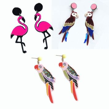 Vintage Animal Statement Bird Parrot Bling Earrings For Girls Punk Hip-hop Flamingo Personality Acrylic Birds Stud Earrings