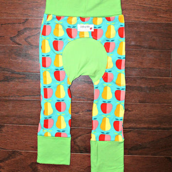 Sale: Maxaloones Size 1, Pear and Apple cloth diaper pants fit 6 months to 3 years, grow with me leggings