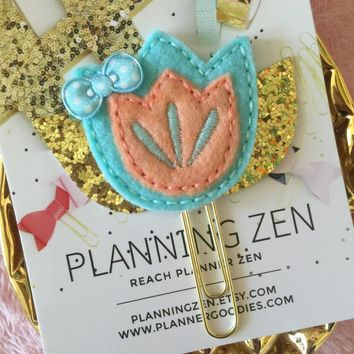 Turquoise & Peach Spring Flower with Gold Leaves Felt Paperclip