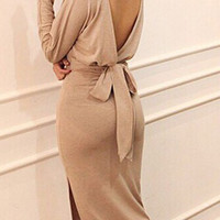 Apricot Backless Long Sleeve Dress