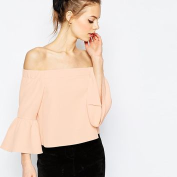 ASOS | ASOS Off The Shoulder Top With Ruffle Sleeve at ASOS