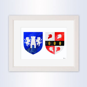 Modern Hand Painted Family Crest, Irish Family Crest, Bespoke Coat of Arms, Heraldry, Surname Crest Logo, Wedding Crest Gift, Painted Clans