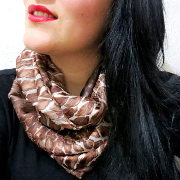 Infinity Scarf Brown snake skin print Circle Loop Scarf Women's Fashion Accessories, Fabric infinity scarf, Summer Wear