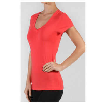 """Always Faithful"" Classic V Neck Short Sleeve Deep Coral Top"