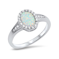 Sterling Silver Oval Created White Opal Halo Ring