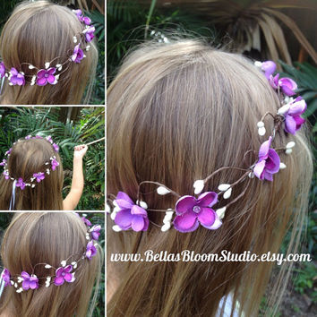 Purple Flower Crown,plum  flower crown,baby breath crown,hair vine,flower girl headpiece,wedding Hair Vine,Floral crown,Bridal crown,etsy