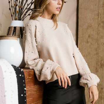 Pearl Detail Balloon Sleeve Sweater