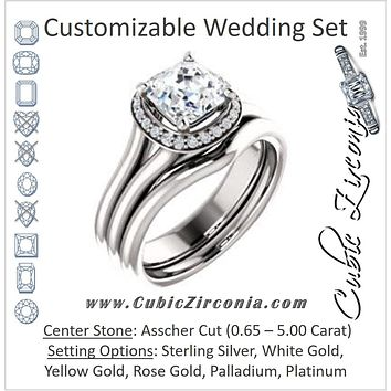 CZ Wedding Set, featuring The Elaine Li engagement ring (Customizable Asscher Cut Style with Halo, Wide Split Band and Euro Shank)