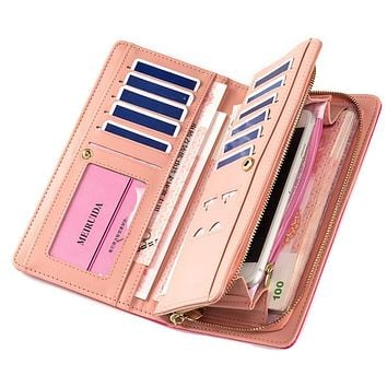 Women's Long Purses Large Capacity Multifunction Snaps Button Zipper Cross Embossed Mobile Phone Bit Card Holder Clutch Wallets
