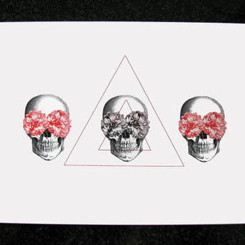 Floral Skull Triangles Mixed Media Illustration Art Print for Home Wall Decor